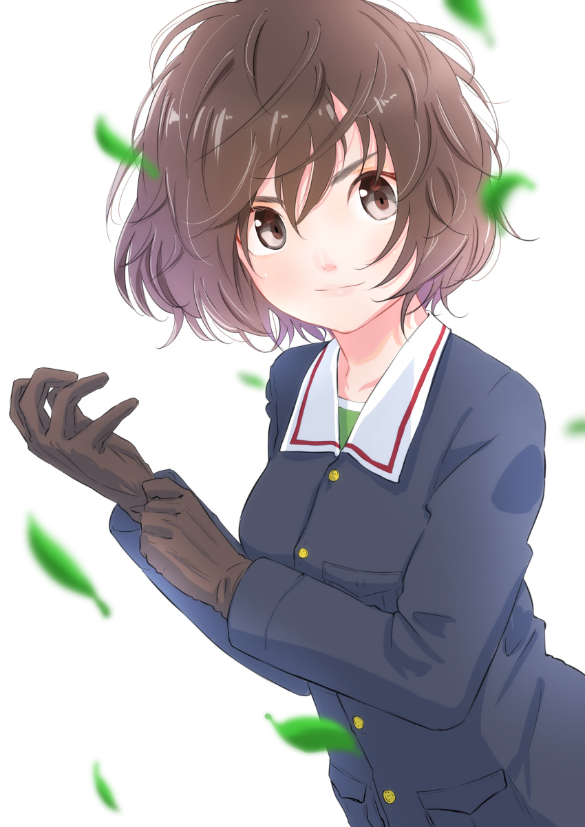 1girl absurdres adjusting_clothes adjusting_gloves akiyama_yukari bangs black_gloves blue_jacket blurry blurry_foreground brown_eyes brown_hair closed_mouth commentary depth_of_field girls_und_panzer gloves green_shirt highres jacket leaf long_sleeves looking_at_viewer messy_hair military military_uniform ooarai_military_uniform oze_(xyz_go_go11) shirt short_hair simple_background smile solo standing uniform upper_body white_background wind