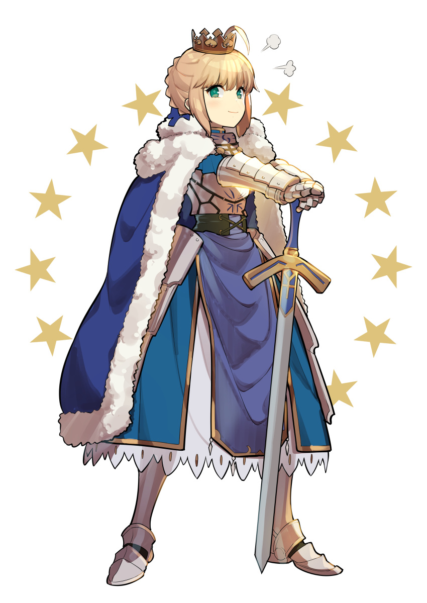 1girl absurdres ahoge armor armored_boots armored_dress artoria_pendragon_(all) bangs blonde_hair blue_cloak blue_dress boots braid breastplate cloak closed_mouth crown dress excalibur eyebrows_visible_through_hair fate/grand_order fate/stay_night fate_(series) full_body fur-trimmed_cloak fur_trim gauntlets green_eyes hair_between_eyes hands_on_hilt highres looking_at_viewer mini_crown omucchan_(omutyuan) outstretched_arms queen saber sidelocks simple_background smile smug solo standing star starry_background type-moon white_background