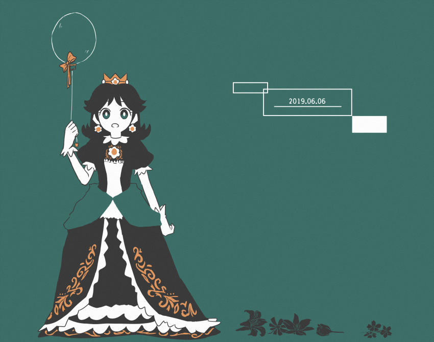 1girl 2019 alternate_color aqua_background aqua_eyes black_dress bow bright_pupils brooch crown dated dress earrings flipped_hair flower flower_earrings full_body gloves hand_up highres jewelry mario_(series) misowhite open_mouth orange_bow princess princess_daisy puffy_short_sleeves puffy_sleeves short_hair short_sleeves solo super_smash_bros. white_gloves white_pupils