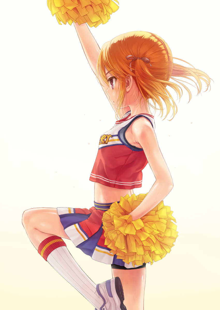 1girl alternate_hairstyle bare_shoulders bike_shorts brown_eyes cheerleader clothes_writing commentary_request cowboy_shot crop_top eyebrows_visible_through_hair gradient gradient_background hair_ribbon highres idolmaster idolmaster_cinderella_girls idolmaster_cinderella_girls_starlight_stage kneehighs leg_up midriff orange_hair parted_lips pom_poms profile ribbon shoes sidelocks skirt sneakers solo sweat takanashi twintails yuuki_haru