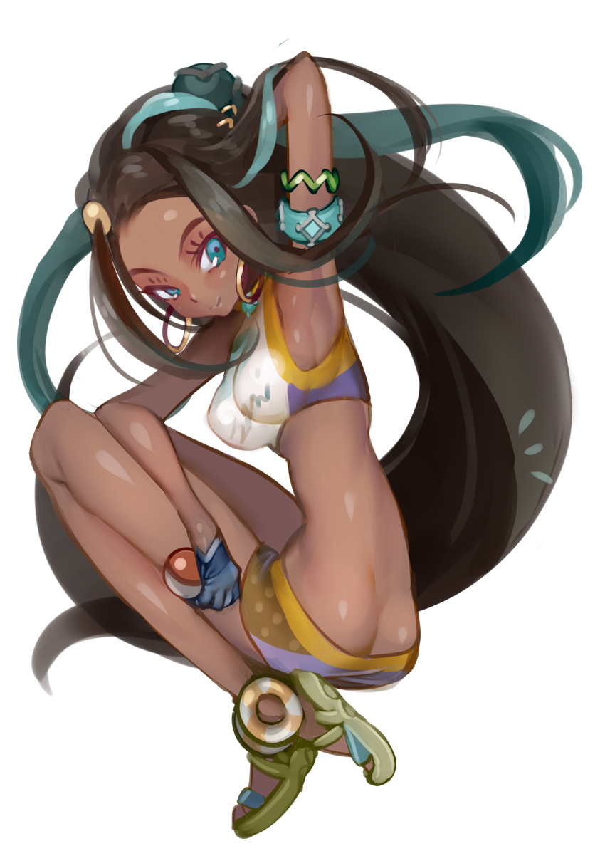1girl arm_up armband armpits ass bare_shoulders black_hair blue_eyes blue_gloves butt_crack commentary_request dark_skin earrings gloves highres hoop_earrings jewelry long_hair looking_at_viewer looking_back metk poke_ball pokemon pokemon_(game) pokemon_swsh rurina_(pokemon) sandals simple_background slender_waist smile solo very_long_hair white_background