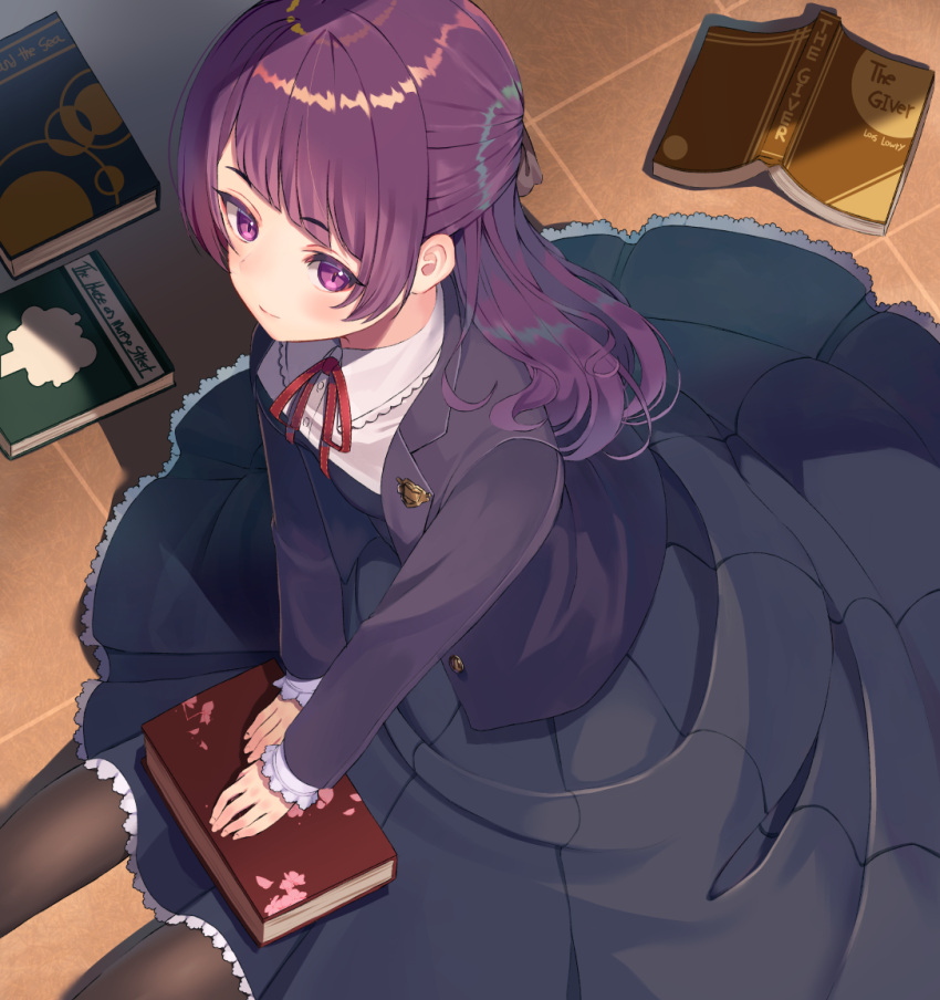 1girl bangs black_jacket black_shirt black_skirt blazer blunt_bangs blush book bow breasts brown_bow brown_legwear closed_mouth collared_shirt commentary_request dress_shirt eyebrows_visible_through_hair hair_bow idolmaster idolmaster_shiny_colors indoors jacket long_hair neck_ribbon on_floor open_blazer open_book open_clothes open_jacket pantyhose pleated_skirt purple_hair rangen red_ribbon ribbon shirt sidelocks sitting skirt small_breasts solo tanaka_mamimi violet_eyes