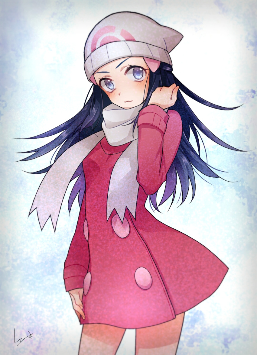 1girl black_hair blue_eyes coat coat_dress cowboy_shot floating_hair hat highres hikari_(pokemon) long_hair looking_at_viewer pink_coat poke_ball_print pokemon pokemon_(game) pokemon_dppt print_hat scarf signature smile solo standing white_headwear white_scarf winter_clothes winter_coat yuuki_(yuuk_yume)