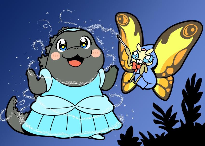 1boy 1girl bkub bkub_(style) bug cinderella cosplay crossover dinosaur disney dress fairy_godmother fairy_godmother_(cosplay) fairy_tales godzilla godzilla_(series) insect kaijuu monster moth mothra no_humans parody ribbon tail wand wings