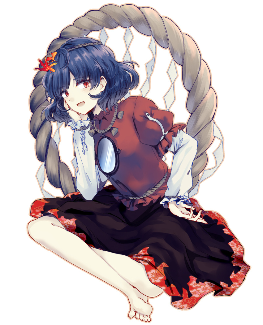 1girl :d bangs barefoot black_skirt blue_hair eyebrows_visible_through_hair floral_print hair_ornament hand_on_own_cheek hand_up highres indian_style leaf_hair_ornament long_sleeves looking_at_viewer mirror open_mouth puffy_short_sleeves puffy_sleeves red_eyes red_shirt rope shide shimenawa shirt short_hair short_sleeves simple_background sitting skirt smile solo touhou uranaishi_(miraura) white_background yasaka_kanako