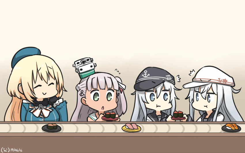 /\/\/\ 4girls anchor_symbol atago_(kantai_collection) beret black_gloves blonde_hair blue_eyes blue_headwear blush breasts closed_eyes closed_mouth commentary_request conveyor_belt_sushi dress dual_persona eating eyebrows_visible_through_hair flat_cap food gloves gradient gradient_background green_eyes hair_ribbon hammer_and_sickle hamu_koutarou hat headgear hibiki_(kantai_collection) highres kantai_collection large_breasts long_hair long_sleeves looking_at_viewer maestrale_(kantai_collection) military military_uniform multiple_girls open_mouth peaked_cap remodel_(kantai_collection) ribbon sailor_collar sailor_dress school_uniform serafuku silver_hair smile star sushi uniform verniy_(kantai_collection) white_dress white_headwear
