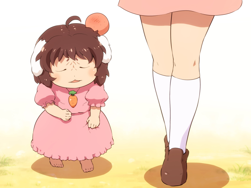 2girls ahoge animal_ears barefoot brown_footwear brown_hair carrot_necklace closed_eyes commentary_request dress gradient gradient_background head_bump height_difference inaba_tewi kneehighs legs loafers miniskirt multiple_girls open_mouth pink_dress pink_skirt puffy_short_sleeves puffy_sleeves rabbit_ears reisen_udongein_inaba shadow shirosato shoes short_hair short_sleeves skirt standing thighs touhou white_background white_legwear