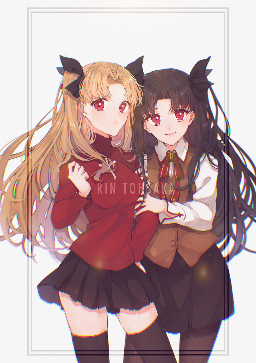2girls absurdres black_bow black_legwear black_skirt blonde_hair bow breasts brown_hair character_name closed_mouth collared_shirt cosplay ereshkigal_(fate/grand_order) fate/grand_order fate/stay_night fate_(series) floating_hair hair_bow highres homurahara_academy_uniform ishtar_(fate/grand_order) long_hair looking_at_viewer marei_(mercy) medium_breasts miniskirt multiple_girls neck_ribbon pantyhose pleated_skirt red_eyes red_ribbon red_shirt ribbon shirt skirt smile standing thigh-highs toosaka_rin toosaka_rin_(cosplay) very_long_hair white_background white_shirt wing_collar zettai_ryouiki