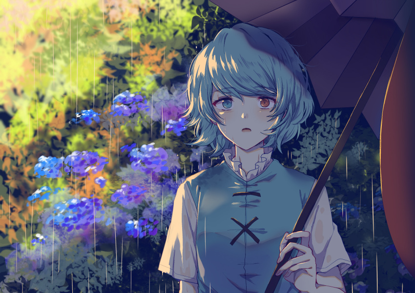1girl bangs blue_eyes blue_flower blue_hair blue_vest blush eyebrows_visible_through_hair flower heterochromia highres holding holding_umbrella open_mouth outdoors purple_umbrella rain red_eyes shirt short_hair short_sleeves solo tatara_kogasa tongue touhou umbrella upper_body uranaishi_(miraura) vest white_shirt