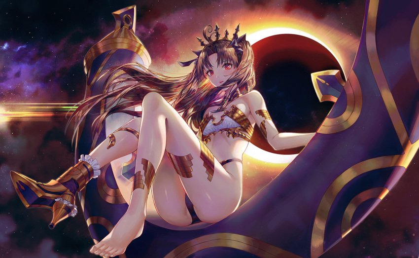 1girl ahoge anklet ass backlighting bangs bare_shoulders barefoot boots breasts brown_hair crown eclipse fate/grand_order fate_(series) floating_hair heavenly_boat_maanna high_heels highleg ishtar_(fate/grand_order) jewelry knees_up long_hair looking_at_viewer neck_ring parted_bangs parted_lips red_eyes small_breasts solo star_(sky) thighs toes ttutto two_side_up very_long_hair