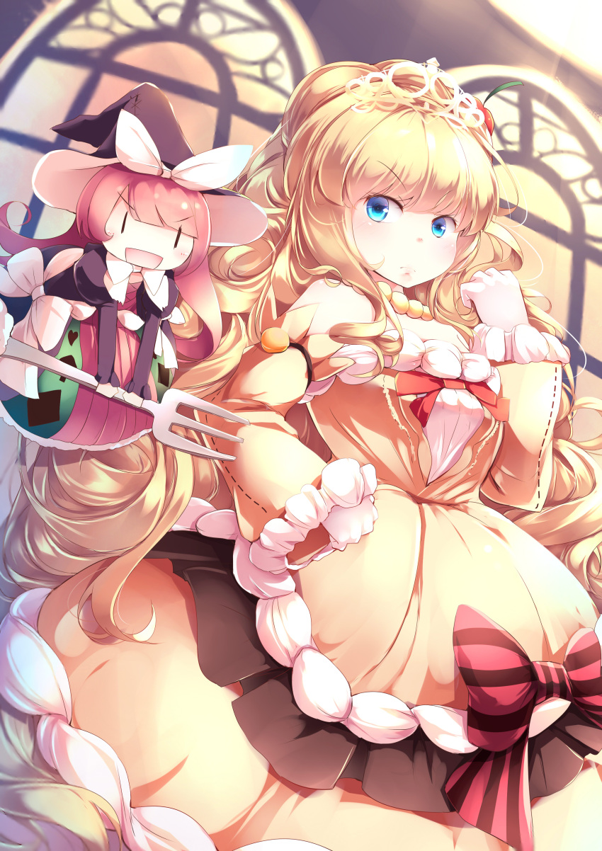1girl :d =d absurdres bangs blonde_hair blue_eyes blunt_bangs bow commentary detached_sleeves doll dress duel_monster eyebrows_visible_through_hair fork frilled_sleeves frills frown hand_on_hip hand_up hat highres indoors jewelry kanzakietc long_hair looking_at_viewer madolche_magileine necklace open_mouth pearl_necklace redhead smile solo striped striped_bow tiara v-shaped_eyebrows very_long_hair wide_sleeves witch_hat yellow_dress yuu-gi-ou |_|