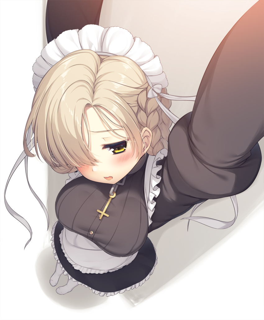 1girl apron arms_up azur_lane bangs black_dress black_skirt blonde_hair blush braid breasts buttons choker commentary cross cross_necklace dress dutch_angle foreshortening french_braid from_above hair_over_one_eye highres jewelry juliet_sleeves large_breasts long_sleeves maid maid_apron maid_headdress necklace olive_(laai) pov puffy_sleeves sheffield_(azur_lane) short_hair skirt solo waist_apron white_legwear yellow_eyes