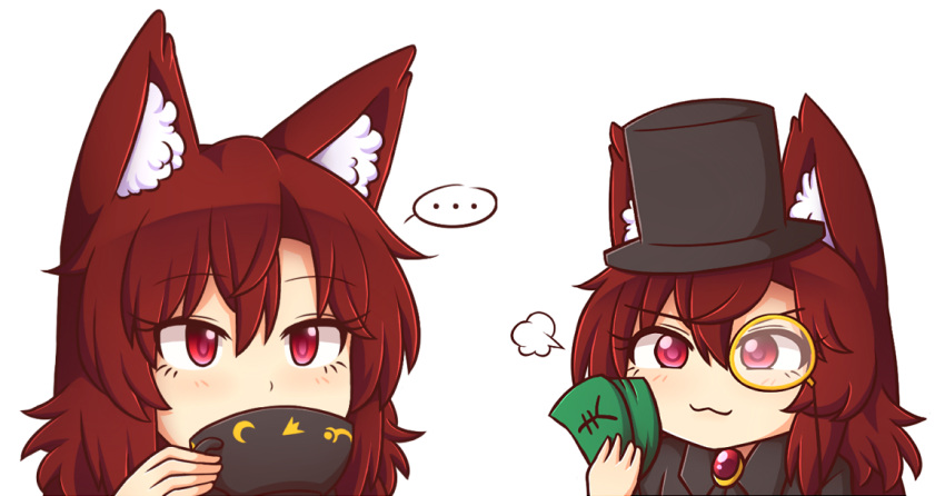 ... 2girls :3 =3 animal_ear_fluff animal_ears bangs black_headwear blush brooch brown_hair chibi commentary cup dual_persona english_commentary eyebrows_visible_through_hair eyelashes hair_between_eyes hat holding holding_cup holding_money imaizumi_kagerou jewelry long_hair looking_at_viewer money monocle multiple_girls portrait red_eyes simple_background smile spoken_ellipsis teacup top_hat touhou white_background wolf_ears wool_(miwol) yen_sign