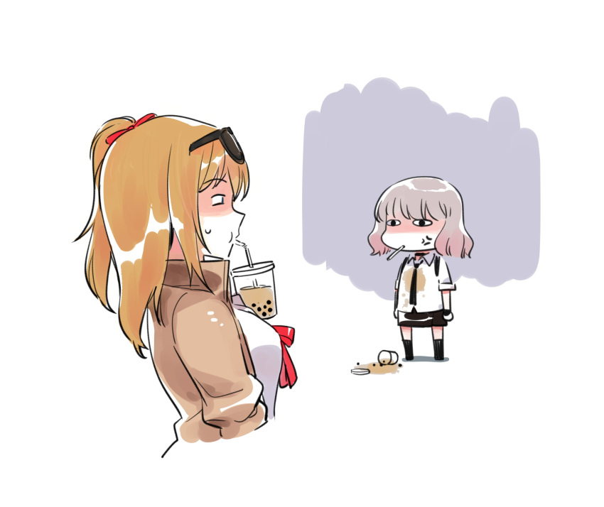 2girls absurdres anger_vein breasts bubble_tea bubble_tea_challenge chibi commentary_request cup disposable_cup drinking_straw flat_chest gentiane_(girls_frontline) girls_frontline grey_hair highres kalina_(girls_frontline) laughing medium_breasts miharu_(cgsky) multiple_girls orange_hair ponytail short_hair skirt smug spill sweatdrop tea