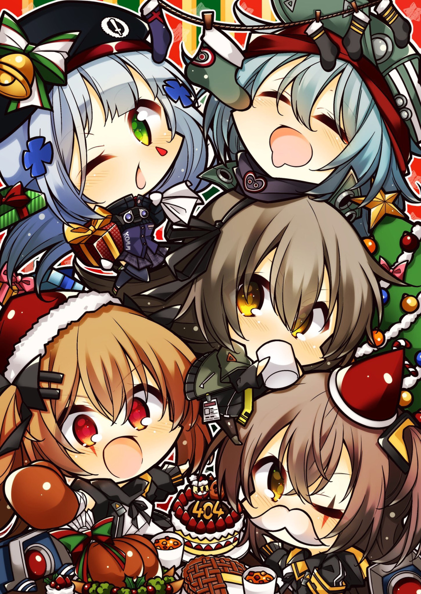 5girls 7:08 beret cake chibi christmas christmas_cake christmas_ornaments christmas_tree closed_eyes cup dinergate_(girls_frontline) drink drinking food g11_(girls_frontline) gift girls_frontline hat highres hk416_(girls_frontline) multiple_girls one_eye_closed pie santa_hat siblings sisters sleeping socks turkey_(food) twins ump40_(girls_frontline) ump45_(girls_frontline) ump9_(girls_frontline)