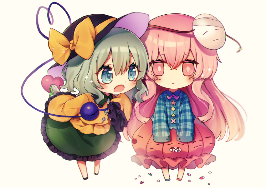 2girls absurdres bangs black_footwear black_headwear blue_shirt blush bow bowtie chibi circle commentary_request eyebrows_visible_through_hair frilled_shirt_collar frills full_body green_eyes green_footwear green_hair green_skirt grey_background hair_between_eyes hat hat_bow hata_no_kokoro heart heart_of_string highres holding holding_knife holding_weapon knife komeiji_koishi kyouda_suzuka leaning_forward long_hair long_sleeves looking_at_another mask mask_on_head mismatched_footwear multiple_girls open_mouth petticoat pill pink_eyes pink_footwear pink_hair pink_skirt plaid plaid_shirt purple_bow purple_neckwear shirt shoes short_hair sidelocks simple_background skirt sleeves_past_fingers sleeves_past_wrists standing star tassel third_eye touhou triangle very_long_hair weapon wide_sleeves x yellow_bow yellow_shirt