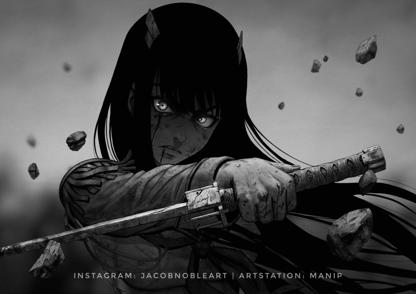 1girl artist_name black_hair bleeding blood blood_on_face english_commentary epaulettes greyscale highres horns kill_la_kill kiryuuin_satsuki long_hair looking_at_viewer manip monochrome pebble school_uniform serious simple_background solo sword upper_body very_long_hair watermark weapon