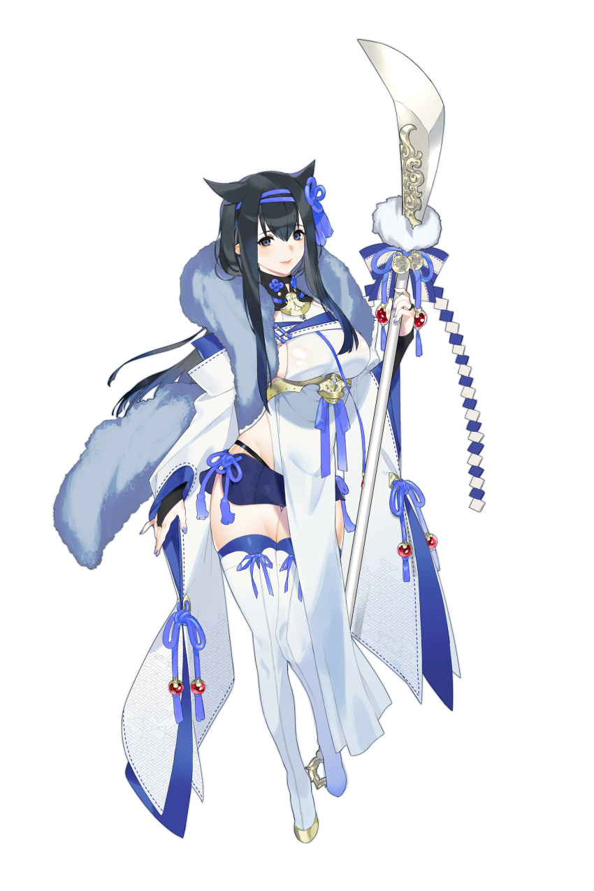 1girl absurdres bangs bell black_hair blue_eyes blue_legwear blue_nails blue_shorts boots bow bowtie breasts bridal_gauntlets commentary_request eyebrows_visible_through_hair fingernails full_body fur_trim hair_flaps hair_ornament highres holding japanese_clothes jingle_bell lips long_hair looking_at_viewer medium_breasts mole mole_on_breast naginata nail_polish original polearm shiny shiny_clothes shiny_hair shorts shouko829 sidelocks simple_background smile solo thigh-highs thigh_boots turtleneck weapon white_background white_footwear wide_sleeves