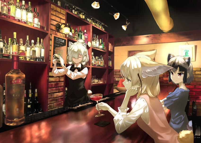 3girls adapted_costume aino-san_(miximixi39) alcohol alpaca_ears alpaca_suri_(kemono_friends) alpaca_tail alternate_costume animal_ear_fluff animal_ears arm_support bangs bar bartender black_hair blonde_hair bottle chair closed_eyes closed_mouth cocktail_shaker common_raccoon_(kemono_friends) contemporary cup drinking_glass extra_ears fennec_(kemono_friends) fox_ears fox_tail frilled_sleeves frills grey_hair hair_bun hair_over_one_eye hand_on_own_cheek head_rest highres holding holding_cup indoors kemono_friends light long_sleeves looking_at_another medium_hair multicolored_hair multiple_girls pink_sweater platinum_blonde_hair raccoon_ears raccoon_tail red_eyes shirt short_hair short_sleeves sidelocks sitting smile standing sweater sweater_vest tail two-tone_hair upper_body vest wine_glass yellow_eyes