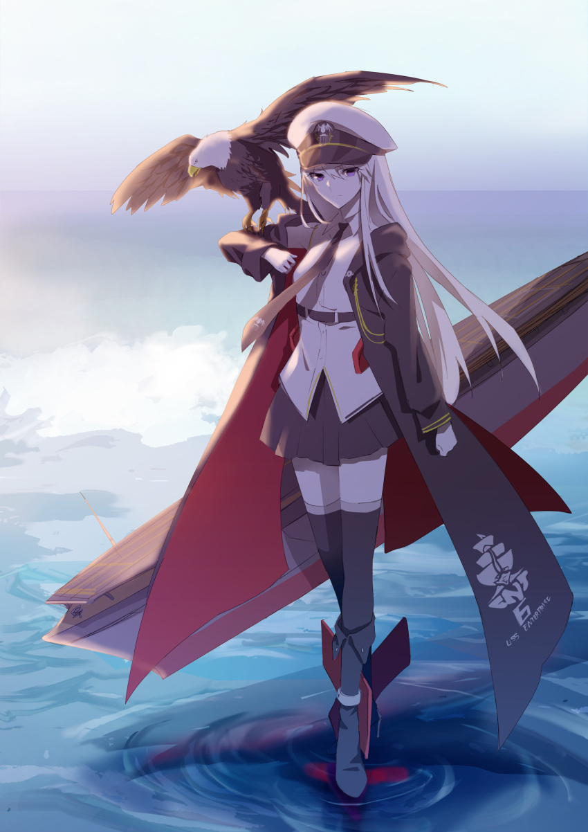 1girl absurdres azur_lane bald_eagle belt bird black_belt black_coat black_neckwear blue_sky boots breasts coat collared_shirt commentary day eagle english_commentary enterprise_(azur_lane) eyebrows_visible_through_hair hat highres large_breasts military military_hat miniskirt necktie ocean open_clothes open_coat outdoors peaked_cap rudder_footwear shirt silver_hair skirt sky sleeveless sleeveless_shirt solo suprii thigh-highs underbust violet_eyes white_headwear