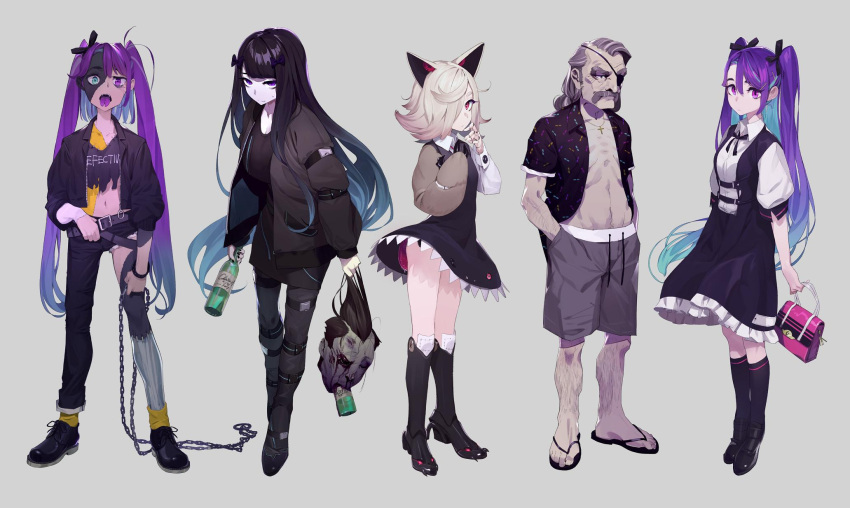 1boy 4girls animal_ears arm_strap bag bangs belt belt_buckle black_coat black_dress black_footwear black_hair black_jacket black_legwear black_pants blood blue_eyes blue_hair boots bottle bow bracelet buckle buttons chain closed_eyes closed_mouth coat collarbone commentary cross death dress english_text eyepatch facial_hair flip-flops forked_tongue full_body grey_background grey_hair hair_bow hair_ornament hair_over_one_eye hair_ribbon hairpin handbag hands_in_pockets heterochromia highres holding holding_belt holding_bottle holding_chain holding_handbag holding_head jacket jewelry kamameshi_gougoumaru knee_boots knee_pads kneehighs long_hair long_sleeves looking_at_viewer looking_to_the_side mechanical_hand medium_hair monster multicolored_hair multiple_girls mustache navel open_mouth original pants pink_eyes pink_handbag purple_hair purple_tongue red_eyes ribbon sandals shirt shoelaces shoes short_dress short_sleeves shorts silver_hair simple_background smile spiked_boots standing stitches sweat teeth thigh_strap tongue tongue_out torn_clothes torn_pants torn_shirt twintails unbuttoned unbuttoned_shirt very_long_hair violet_eyes white_shirt yellow_legwear zombie