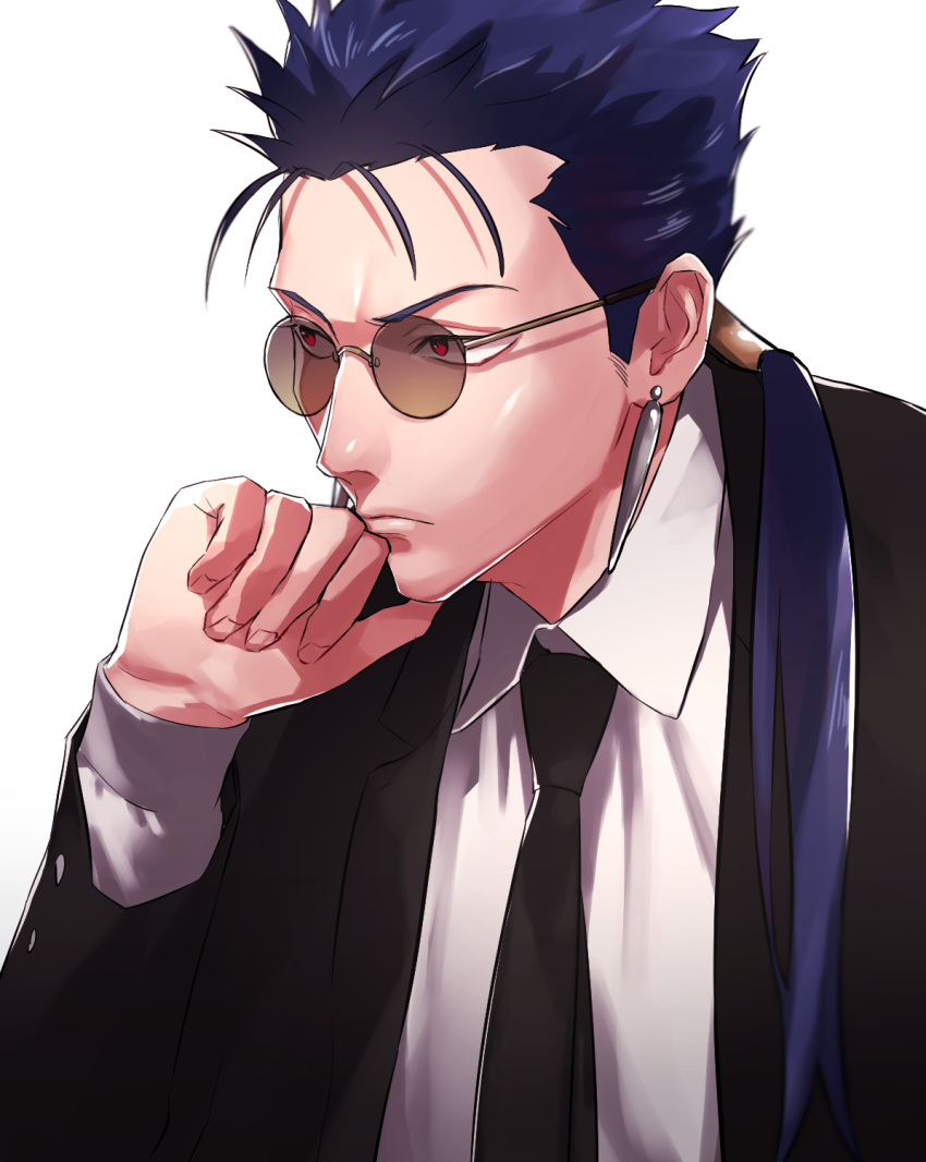 1boy black_neckwear black_suit blue_hair clenched_hand earrings fate_(series) formal glasses highres jewelry lancer long_hair long_sleeves male_focus necktie ponytail red_eyes samuraisamurai solo spiky_hair upper_body white_background