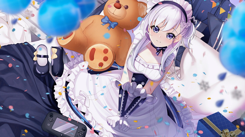 1girl apron azur_lane bangs belchan_(azur_lane) belfast_(azur_lane) blue_dress blue_eyes blue_footwear blush braid collarbone dhfz181 dress elbow_gloves eyebrows_visible_through_hair frills from_above gloves highres loafers long_hair looking_at_viewer maid maid_headdress on_bed one_side_up ribbon shoes shoes_removed silver_hair sitting sleeveless smile solo white_gloves younger
