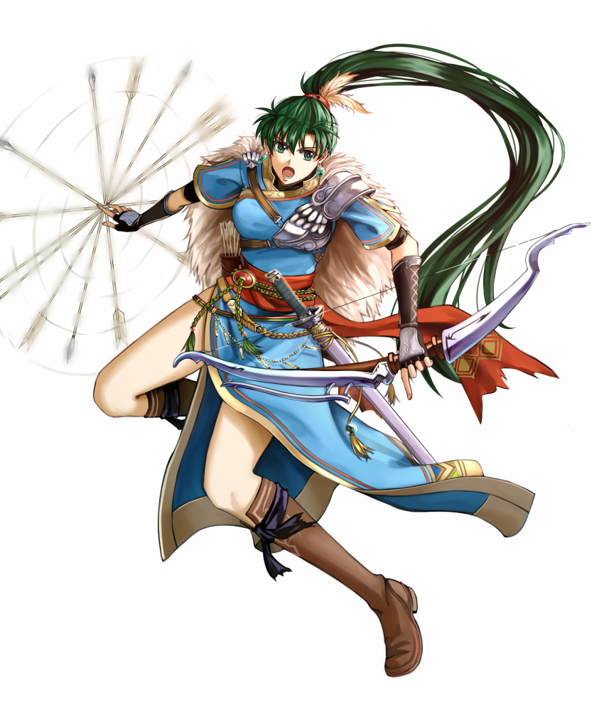 1girl arrow blue_dress boots bow breastplate delsaber dress earrings fingerless_gloves fire_emblem fire_emblem:_rekka_no_ken fire_emblem_heroes fur_capelet gloves green_eyes green_hair highres jewelry katana long_hair looking_at_viewer lyndis_(fire_emblem) open_mouth ponytail quiver rope_belt spinning sword weapon