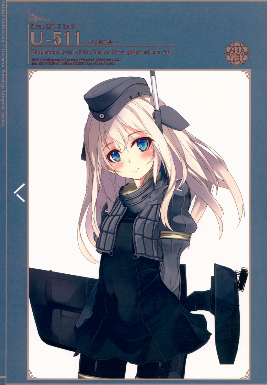 1girl absurdres bangs black_legwear blue_eyes blush breasts character_name closed_mouth cropped_jacket dress eyebrows_visible_through_hair garrison_cap hat highres huge_filesize jacket kantai_collection lips long_hair long_sleeves looking_at_viewer machinery military military_uniform puffy_long_sleeves puffy_sleeves scan shirokitsune short_dress silver_hair simple_background small_breasts smile solo u-511_(kantai_collection) uniform white_background