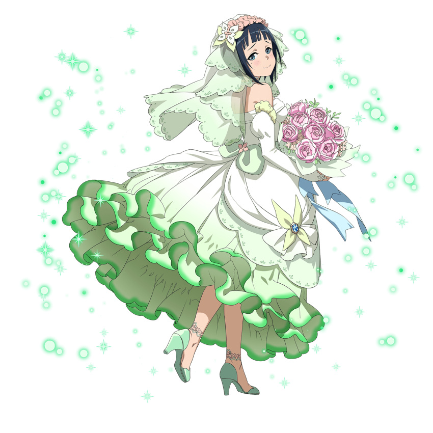 1girl anklet black_hair blue_eyes bouquet bridal_veil closed_mouth detached_sleeves dress flower from_side full_body green_footwear high_heels highres holding holding_bouquet jewelry long_dress long_sleeves looking_at_viewer looking_back mole mole_under_eye official_art pink_flower pink_rose pumps rl rose sachi shiny shiny_hair short_hair sleeveless sleeveless_dress smile solo sword_art_online transparent transparent_background veil walking white_dress white_sleeves