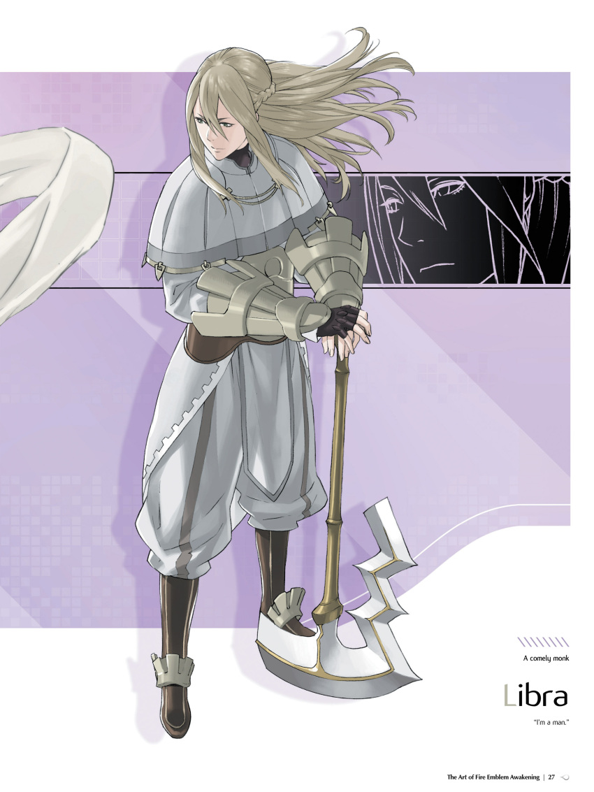 1boy absurdres armor axe bangs battle_axe blonde_hair boots character_name closed_mouth fire_emblem fire_emblem:_kakusei full_body gloves highres kozaki_yuusuke long_hair long_sleeves male_focus official_art page_number pants pelvic_curtain riviera_(fire_emblem) sidelocks solo standing vambraces weapon
