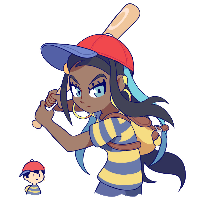 1boy 1girl absurdres adult ape_(company) artist_request backpack bag baseball_cap black_hair blue_eyes blue_hair cosplay creatures_(company) dark_skin earrings game_freak gym_leader hal_laboratory_inc. hat highres jewelry kid long_hair looking_at_viewer mother_(game) mother_2 multicolored_hair ness ness_(cosplay) nintendo olm_digital pokemon pokemon_(game) pokemon_swsh rurina_(pokemon) shirt short_hair simple_background sora_(company) super_smash_bros. super_smash_bros._ultimate