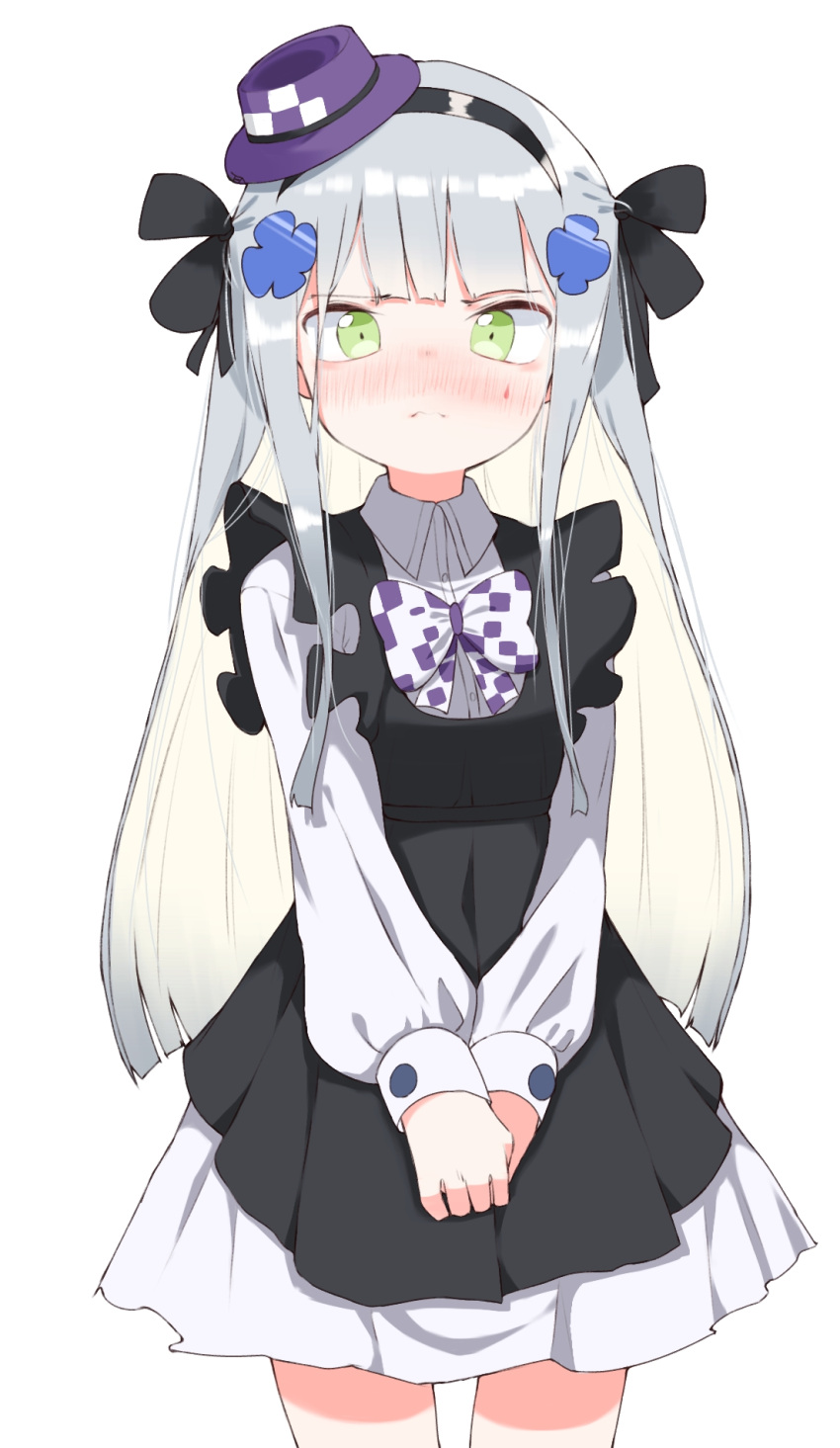1girl 3: bangs black_bow black_dress black_hairband blush bow closed_mouth collared_shirt commentary cowboy_shot dress dress_shirt eyebrows_visible_through_hair facial_mark girls_frontline green_eyes hair_bow hair_ornament hairband hat highres hk416_(girls_frontline) long_hair long_sleeves mini_hat nose_blush pleated_skirt puffy_long_sleeves puffy_sleeves purple_headwear shirt silver_hair simple_background skirt sleeveless sleeveless_dress sleeves_past_wrists solo tilted_headwear tosyeo very_long_hair white_background white_bow white_shirt white_skirt
