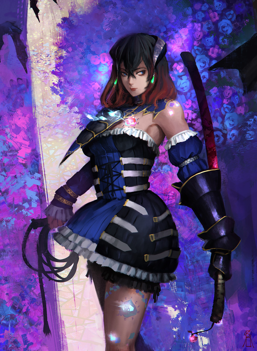 1girl black_hair bloodstained:_ritual_of_the_night blue_eyes breasts brown_hair detached_sleeves gauntlets gradient_hair hair_between_eyes hair_ornament highres horns looking_at_viewer miriam_(bloodstained) multicolored_hair pale_skin short_hair simple_background solo sosiick stained_glass sword tattoo weapon