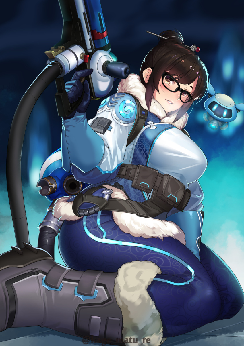 1girl bangs belt_pouch black-framed_eyewear black_legwear blue_gloves blurry blurry_background blush boots breasts brown_eyes canister coat commentary_request drone fur-trimmed_jacket fur_coat fur_trim glasses gloves hair_bun hair_ornament hair_stick highres holding holding_weapon ice_gun jacket kagematsuri looking_at_viewer medium_breasts mei_(overwatch) overwatch parka pouch robot seiza sitting snow_boots snowball_(overwatch) snowflake_hair_ornament solo swept_bangs thighs weapon winter_clothes winter_coat