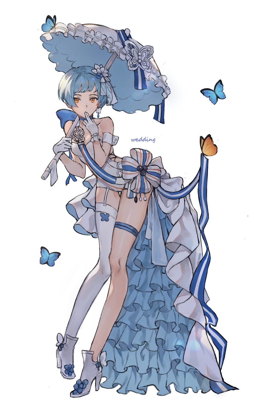 1girl absurdres alternate_costume bangs blue_hair blunt_bangs blush bow breasts bug butterfly dress earrings frilled_dress frills full_body garter_straps girls_frontline gloves gompang high_heels highres holding insect jewelry orange_eyes parasol ribbon simple_background single_thighhigh solo thigh-highs umbrella wedding wedding_dress white_background white_dress white_footwear white_gloves white_legwear zas_m21_(girls_frontline)