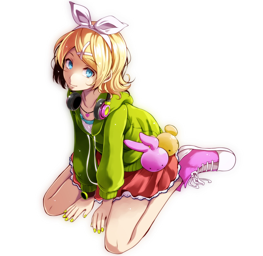 1girl bangs blonde_hair blue_eyes bow cardigan closed_mouth cross-laced_footwear full_body green_sweater hair_bow hairband headphones headphones_around_neck heart heart_necklace highres hood hood_down hooded_sweater kagamine_rin looking_at_viewer melancholic_(vocaloid) miniskirt nail_polish open_cardigan open_clothes pink_footwear project_diva_(series) red_skirt ribbon shirt short_hair simple_background sitting skirt smile solo sweater swept_bangs tsukishiro_saika vocaloid wariza watch watch white_background white_bow white_hairband white_ribbon white_shirt yellow_nails