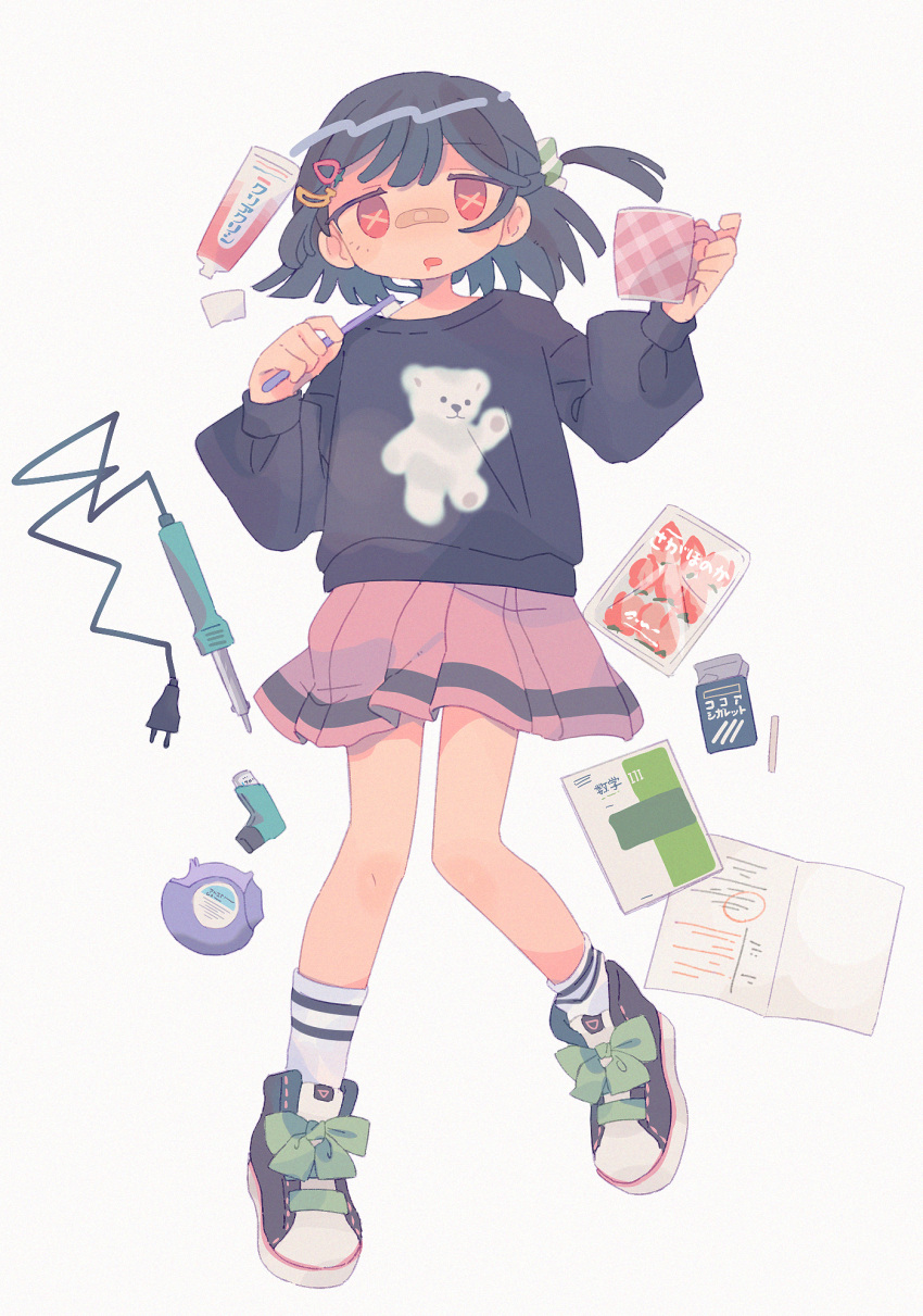1girl bandaid cigarette cigarette_box cup daizu_(melon-lemon) drooling full_body grey_background highres holding leg_lift long_sleeves looking_at_viewer mug original plaid pleated_skirt ribbon shoes simple_background skirt sneakers socks sweater symbol-shaped_pupils toothbrush toothpaste