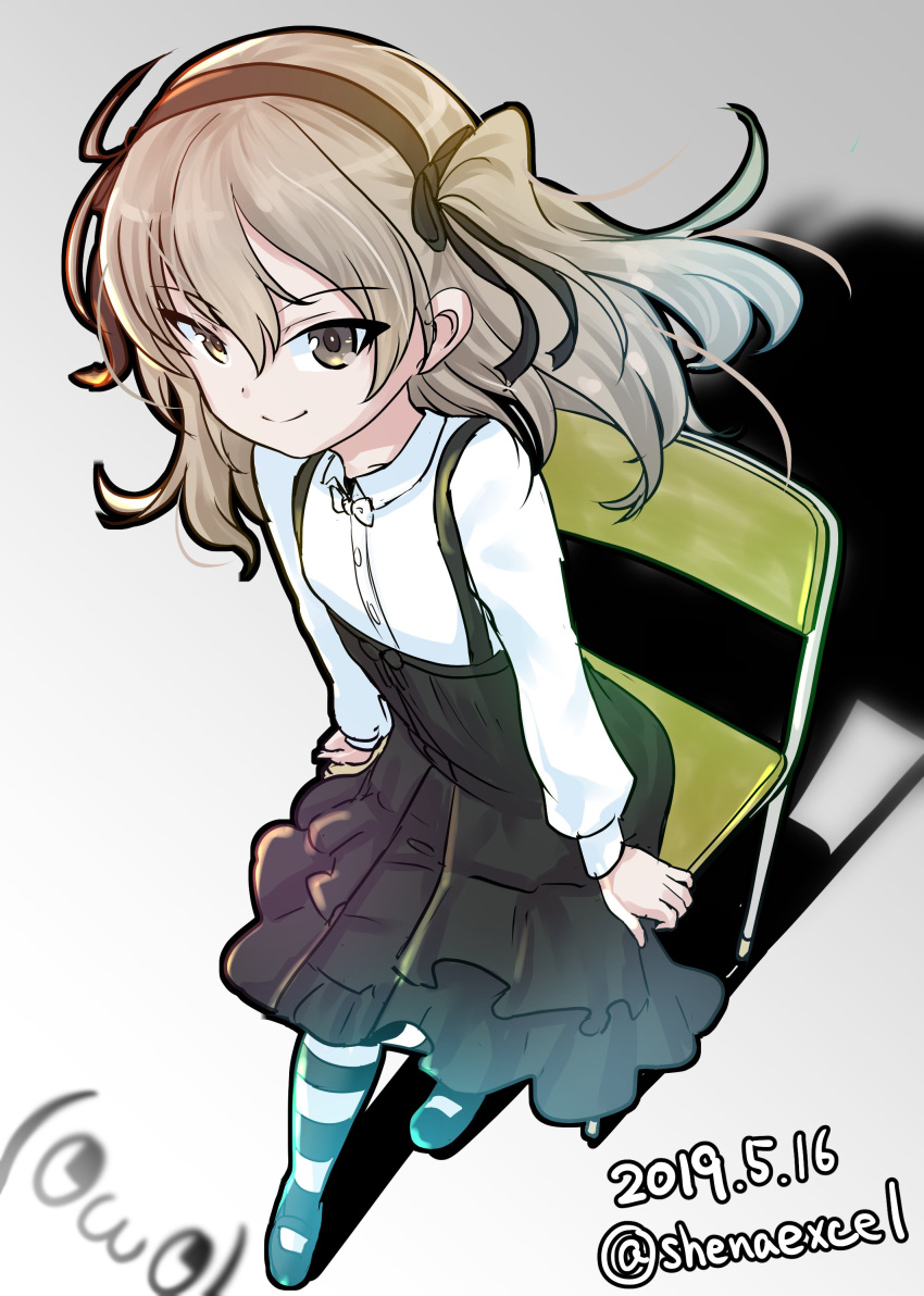 1girl absurdres arm_support artist_logo bangs black_footwear black_legwear black_neckwear black_ribbon black_skirt bow bowtie brown_eyes casual chair closed_mouth collared_shirt commentary dated excel_(shena) eyebrows_visible_through_hair full_body girls_und_panzer gradient gradient_background grey_background hair_ribbon high-waist_skirt highres layered_skirt light_brown_hair long_hair long_sleeves looking_at_viewer mary_janes medium_skirt one_side_up pantyhose ribbon school_chair shadow shimada_arisu shirt shoes sitting skirt smile solo striped striped_legwear suspender_skirt suspenders twitter_username white_shirt wind