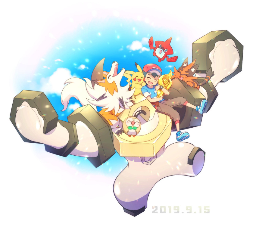 1boy ame_(ame025) ash_ketchum bangs baseball_cap blue_footwear bracelet brown_pants closed_eyes commentary_request dated gen_1_pokemon gen_4_pokemon gen_7_pokemon hat highres holding_trophy jewelry lycanroc lycanroc_(dusk) male_focus melmetal mythical_pokemon open_mouth pants pikachu pokemon pokemon_(anime) pokemon_(creature) pokemon_sm_(anime) red_headwear rotom rotom_dex rowlet shirt shoes short_hair short_sleeves sitting smile striped striped_shirt t-shirt tongue torracat trophy z-ring |d