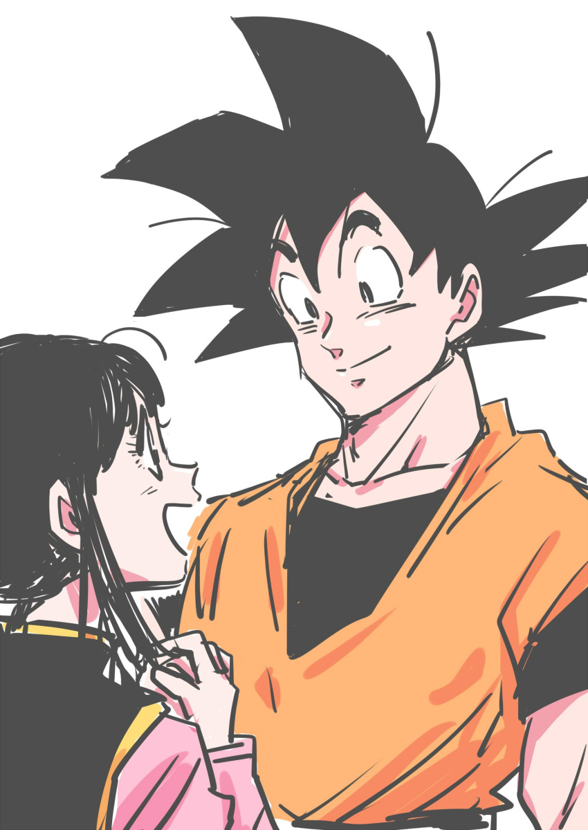 1boy 1girl absurdres bangs black_eyes black_hair chi-chi_(dragon_ball) chinese_clothes collarbone commentary dougi dragon_ball dragon_ball_z eyelashes facing_away hands_clasped happy height_difference highres interlocked_fingers looking_at_another looking_up miiko_(drops7) open_mouth own_hands_together profile simple_background smile son_gokuu spiky_hair upper_body white_background