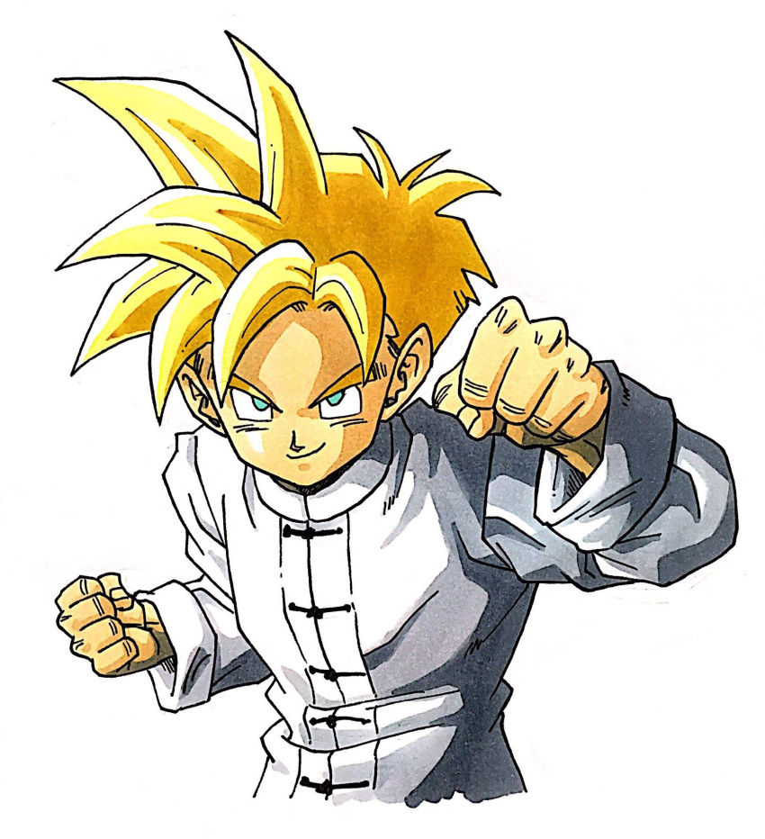 1boy aqua_eyes blonde_hair chinese_clothes clenched_hands commentary dragon_ball dragon_ball_z fighting_stance fingernails happy highres lee_(dragon_garou) long_sleeves looking_at_viewer male_focus shaded_face shirt simple_background smile son_gohan spiky_hair super_saiyan upper_body white_background white_shirt