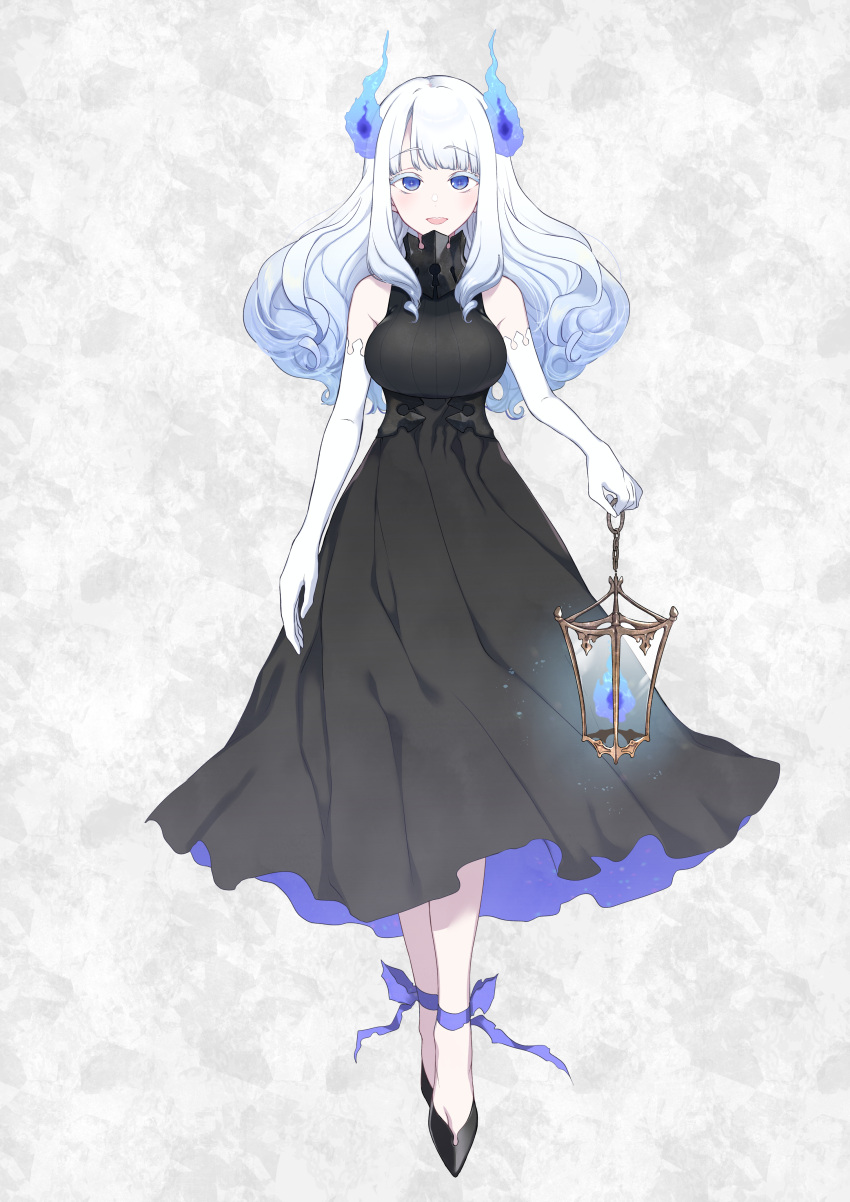 1girl :d absurdres ankle_ribbon bangs bare_shoulders black_dress black_footwear blue_eyes blue_fire blunt_bangs commentary_request dress elbow_gloves eyebrows_visible_through_hair fire full_body gloves highres holding_lantern lantern long_hair looking_at_viewer open_mouth original pochi_(pochi-goya) ribbon shoes sleeveless sleeveless_dress smile solo virtual_youtuber white_gloves white_hair