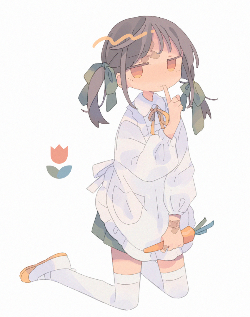 1girl apron bandaid bandaid_on_finger bandaid_on_forehead carrot closed_mouth daizu_(melon-lemon) eyebrows_visible_through_hair frilled_apron frills furrowed_eyebrows gradient_eyes grey_background hair_ribbon highres holding index_finger_raised jitome kneeling looking_at_viewer multicolored multicolored_eyes original ribbon shoes simple_background thigh-highs twintails uwabaki white_legwear