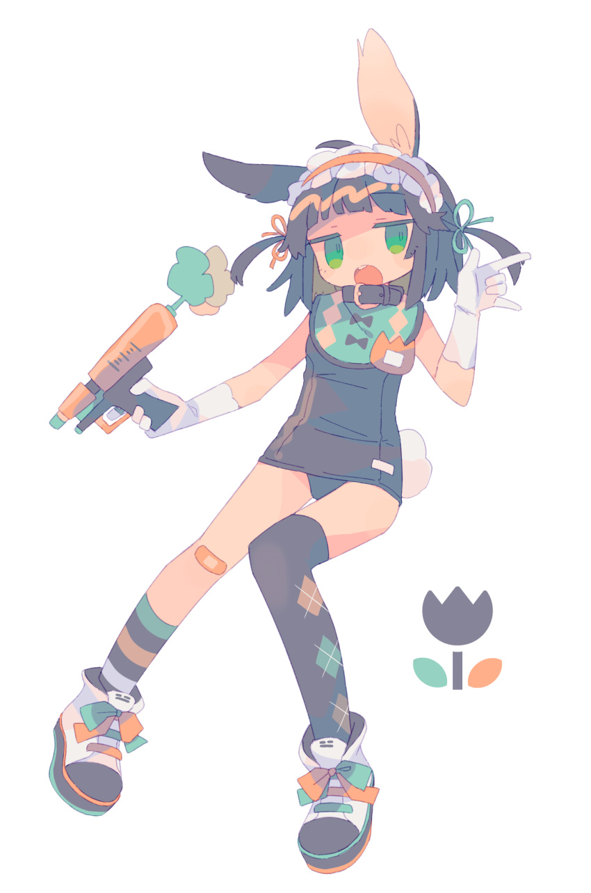 1girl :o \m/ animal_ear_fluff animal_ears argyle argyle_legwear asymmetrical_legwear bandaid bandaid_on_knee bangs black_hair black_legwear blunt_bangs bunny_tail collar daizu_(melon-lemon) expressionless floating flower frills full_body gloves green_eyes hair_ornament hairband hand_up highres holding holding_weapon jitome lolita_hairband looking_at_viewer name_tag no_nose old_school_swimsuit one-piece_swimsuit open_mouth original rabbit_ears ribbon school_swimsuit shoes short_hair simple_background sneakers solo striped swimsuit tail tulip two_side_up upper_teeth weapon white_background white_gloves