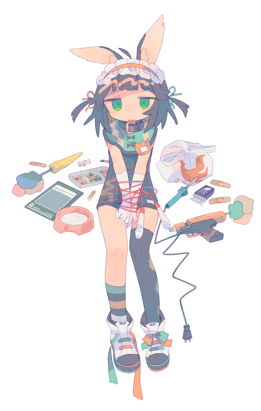 1girl animal_ear_fluff animal_ears argyle argyle_legwear asymmetrical_legwear bag bandaid bangs black_hair black_legwear blunt_bangs bound bound_wrists bowl carrot cigarette cigarette_box crayon d: daizu_(melon-lemon) elbow_gloves eyebrows_visible_through_hair full_body furrowed_eyebrows gloves gradient_eyes green_eyes hair_ornament hairband highres jitome jump_rope lolita_hairband multicolored multicolored_eyes name_tag no_nose old_school_swimsuit one-piece_swimsuit open_mouth original pet_bowl plastic_bag rabbit_ears ribbon school_swimsuit shoes simple_background sitting sneakers solo striped striped_legwear swimsuit two_side_up weapon white_background white_gloves