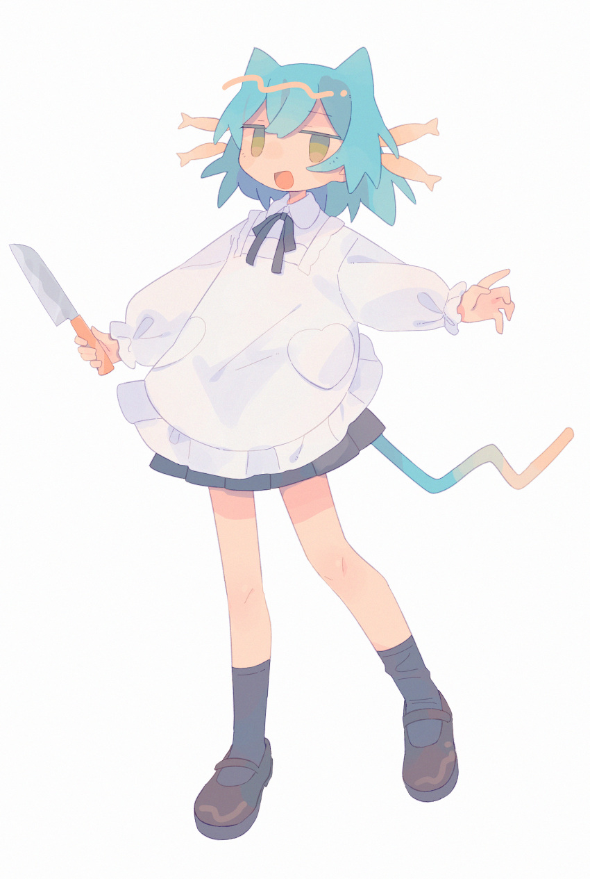 1girl :d absurdres animal_ears apron black_ribbon blue_hair brown_footwear cat_ears cat_girl cat_tail daizu_(melon-lemon) full_body gradient highres holding jitome knife long_sleeves looking_at_viewer mary_janes neck_ribbon open_mouth original outstretched_arms pleated_skirt puffy_sleeves ribbon shoes skirt smile socks solo tail