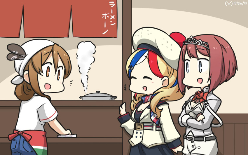 3girls alternate_costume alternate_hairstyle ark_royal_(kantai_collection) bandana belt beret blonde_hair blue_eyes blue_hair blue_pants brown_eyes brown_hair closed_eyes commandant_teste_(kantai_collection) commentary_request corset crown denim eyebrows_visible_through_hair flower french_flag hair_between_eyes hairband hamu_koutarou hat highres jacket jeans kantai_collection littorio_(kantai_collection) long_hair long_sleeves looking_at_another looking_at_viewer multicolored multicolored_clothes multicolored_hair multicolored_scarf multiple_girls open_mouth pants pom_pom_(clothes) ponytail red_flower red_ribbon red_rose redhead ribbon rose scarf shirt short_hair short_sleeves shorts smile streaked_hair tiara wavy_hair white_hair white_legwear white_shirt white_shorts