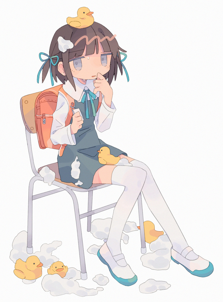 1girl backpack bag bangs blunt_bangs brown_hair chair daizu_(melon-lemon) from_side gradient_eyes grey_background highres holding looking_at_viewer multicolored multicolored_eyes on_head original parted_lips randoseru rubber_duck shoes simple_background sitting solo sweat thigh-highs uwabaki white_legwear