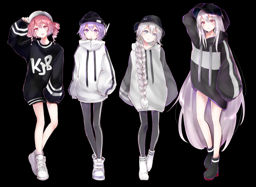 4girls :o absurdres adjusting_headwear arm_behind_head arm_up arms_at_sides baggy_clothes bangs baseball_cap beanie black_background black_footwear black_headwear black_nails black_pants boots braid casual clothes_writing crossed_bangs drawstring drill_hair earrings hand_in_pocket hat hat_writing headphones highres hood hood_down jewelry kasane_teto leggings long_hair multiple_girls open_mouth oversized_clothes pants parted_lips pink_eyes pink_hair purple_hair sekka_yufu shoes short_hair sidelocks silver_hair single_braid sleeves_past_fingers sleeves_past_wrists sneakers standing striped_hoodie sukone_tei utane_uta utau very_long_hair violet_eyes white_eyes white_footwear white_hair white_headwear white_hoodie xaruex
